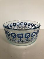 Pyrex 7201 ~ Blue Clear with Geometric Square Pattern Bowl ~ No Lid ~ 1QT