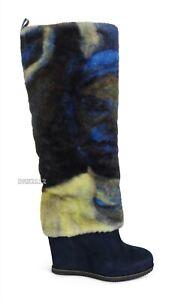 UGG x Claire Tabouret Fluff Dark Sapphire Fur Wedge Boots Womens Size 8 *NIB*