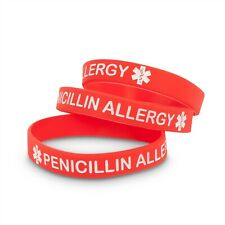 3 PACK - Penicillin Allergy Medical Alert ID Bracelet Silicone Wristband Band PD