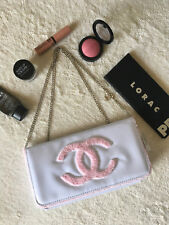 New Chanel White & Pink Patent Leather Clutch Handbag Makeup Cosmetic Purse