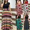 Plus Size Ladies Long Sleeve Floral Boho Women Party Bodycon Maxi Dress Clothing