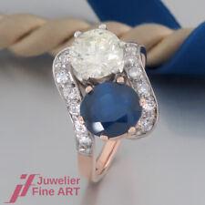 Safir-Ring 1 Saphir & 1 Brillant ca. 1,50ct + Akzente -18K/750 Rosé-/ Weißgold
