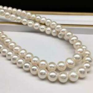 """35"""" stunning  AAA+ 9-10MM real NATURAL white akoya PEARL NECKLACE 14k gold"""
