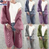 Womens Warm Long Cardigan Coat Casual Sweater Long Sleeve Knitted Outwear Jacket