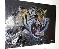Peinture tableau huile sur toile format 50/40 cm surréaliste peinture animalière
