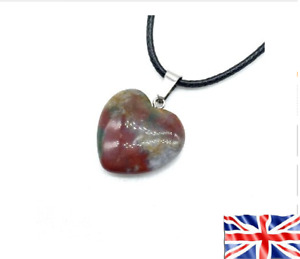 Necklace Heart Stone Indian Agate Chakra Reiki Yoga Pendant Rope Free Gift Bag