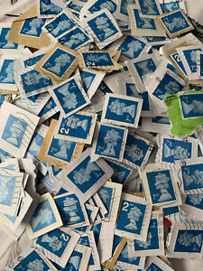 GB 2nd Class Stamps Blue 800 grams Used Kiloware On Paper