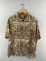 Natural Issue Men's Vintage Short Sleeve Casual Hawaiian Shirt Size XL Brown