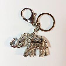 PORTE CLES - ATTACHE SAC DECOR ELEPHANT TOUT STRASS ARGENTE