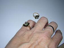 Square Black Onyx Daughters Rebekah 10k Gold Filled Shank Ring WOMEN 5,6,7,10,11