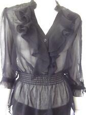 PORTMANS Womens 3/4 Sleeve Black sheer Top - size 8