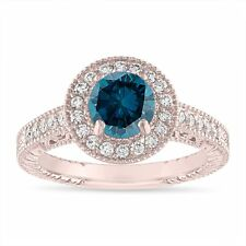 Enhanced Blue Diamond Engagement Ring Rose Gold, 1.29 Carat Halo Pave Certified