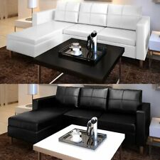 Modern Sectional Sofa 3-Seater Faux Leather Home Couch Seating Living Room Black
