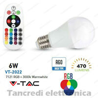 Lampadina led V-TAC 6W E27 RGB + bianco caldo 3000K VT-2022 A60 con telecomando