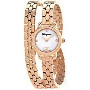 New Salvatore Ferragamo Varina White Dial Pink Rose Women's Watch SFHT00920
