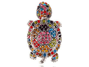Colorful Rainbow Cute Sea Turtle Tortoise Crystal Rhinestone Silver Ring Gifts