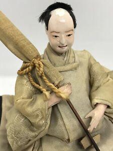 Rare! Antique 19th.c Japanese Sitting Warrior Gofun Doll Black Laquer Wood Base