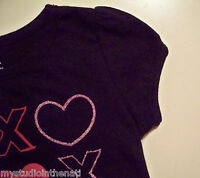 Baby Infant Girl 18 M Black Crew Neck T Shirt Valentine's Day Heart Short Sleeve