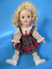All ORIGINAL Hard Plastic Doll by Ideal Blonde Plaid Dress Tag 50's Nice!