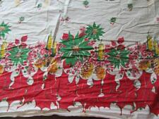 Vintage Christmas Fabric 1950s Novelty Print Cotton 11 Yards Flawed Poinsettia