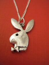 """FREE GIFT**ANTIQUED SILVER PENDANT W/18"""" NECKLACE Playboy Bunny 1 1/4""""  x7/8"""""""
