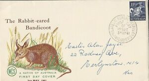 AFD1317) Australia 1961 FDC-WCS-THE RABBIT EARED BANDICOOT