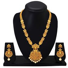 Indian Traditional Wedding Gold Plated Necklace Earrings Statement Jewelry Set