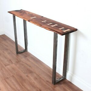 Industrial style console table with reclaimed oak 002