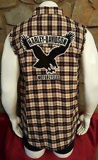 Harley Davidson Sleeveless Eagle Emblem Plaid Button Up Shirt Mens Size Medium