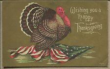 1909 THANKSGIVING POSTCARD Patriotic Turkey & Odd Color Flag