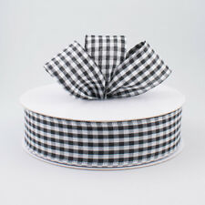 New 1.5 Inch Black and White Gingham Check Plaid Wired Ribbon: 5 Yards off Roll