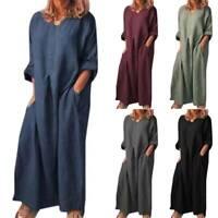Women's Cotton Linen Long Sleeve Pockets Dress Loose Kaftan Tunic Maxi Dresses
