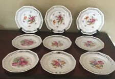 C S Bavaria Set Of 9 Reticulated Scalloped Floral Gold Trim Dessert Plates