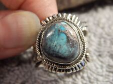Bisbee Turquoise Sterling Silver  Unisex Ring Navajo Russell Sam Size 8 1/4