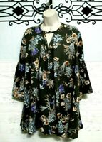 Umgee Tunic Top Size M 3/4 Sleeve Multicolored Floral Women's