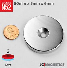 "2pcs 50mm x 5mm H 6mm N52 Countersunk Rare Earth Neodymium Magnet Ring Disc 2"""