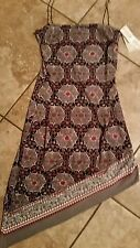 BEAUTIFUL SEXY ASYMMETRICAL BEADED STRAP RED, GRAY & BLACK DRESS L NWT  $39.99
