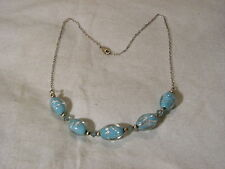 Sterling Silver Chain & Beads,Turquoise & Silver Art Glass Oblong Beads Necklace