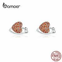 BAMOER European Women Stud Earrings 925 Sterling Silver Red CZ Heartbeat Jewelry
