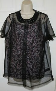 Womens🦋NEXT🦋black mix beaded collar lace 2part top blouse size 20