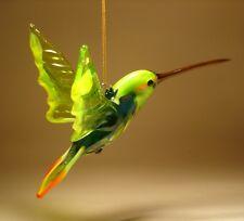 Blown Glass Figurine Bird Hanging Green, Yellow & Red HUMMINGBIRD Ornament