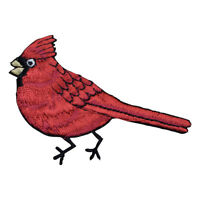 Red Male Cardinal Bird Applique Patch - Facing Left (Small, Iron on)