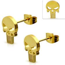 1 Paar Damen Herren Ohrstecker Ohrringe Skull Biker Edelstahl Gold