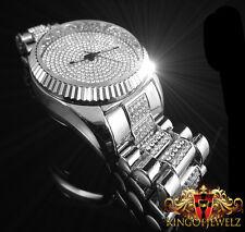 NEW 14k WHITE GOLD FINISH ICED OUT WATCH BRACELET SET LAB DIAMOND BLING MASTER
