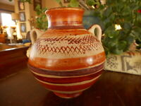 Vintage Made in Mexico pottery vase browns handpainted apx 4.5 tall