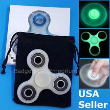 Fidget Spinner Toy * GLOW IN THE DARK * 1.5 MIN+ SPIN * TRI EDC Desk Hand Finger