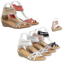 Damen Keilsandaletten Strass Wedges Nieten Sandaletten 79517 Schuhe