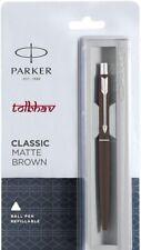 Parker Classic Matte Brown Ball Point Pen BP Chrome Trim CT Quink Blue Refill