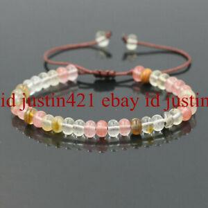 5x8mm Multicolor Watermelon Tourmaline Rondelle Beads Adjustable Bracelet 7.5''
