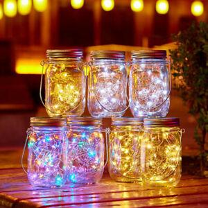 LED Fairy Light Garden Deck Party Mason Jar Lid String Solar Power Lights Decor